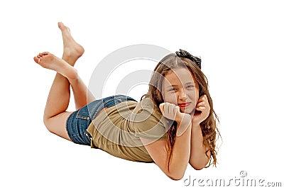 Teenage Girl Posing and Smiling At The Camera
