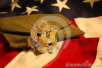 Horizontal US Flag Background with Eagle Emblem