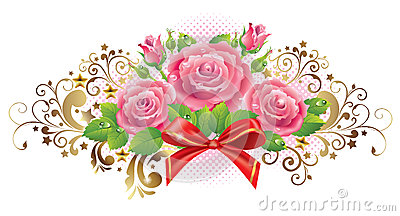 Horizontal vignette of roses and golden curls