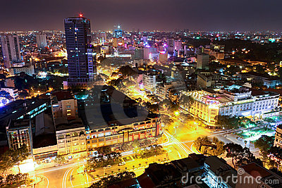 Horizonte de Ho Chi Minh City Imagen de archivo editorial