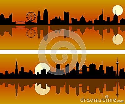 Horizonte de la ciudad en el amanecer