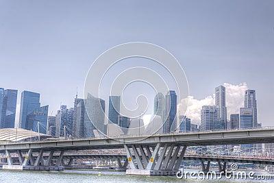 Horizonte de Singapur CBD Foto de archivo editorial