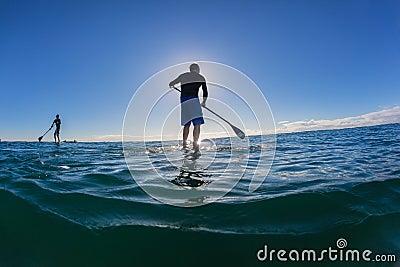 Horizonte do azul da manhã do SUP dos cavaleiros da ressaca Imagem Editorial