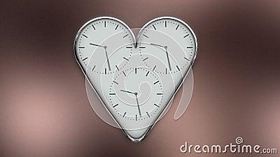 Horloge en forme de coeur dans le timelapse banque de vidéos