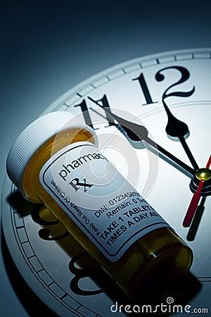Horloge et bouteille de pillule