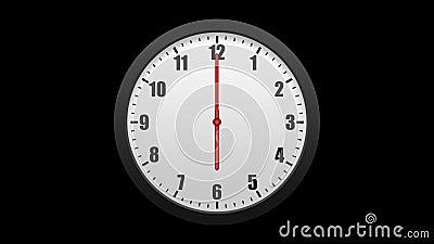 Horloge murale animée, d'isolement sur un fond noir Y compris l'alpha matte illustration stock