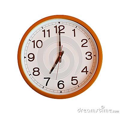 horloge murale orange d 39 isolement dans sept heures photo. Black Bedroom Furniture Sets. Home Design Ideas