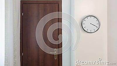 Horloge sur le mobilier d'une salle de bureau banque de vidéos