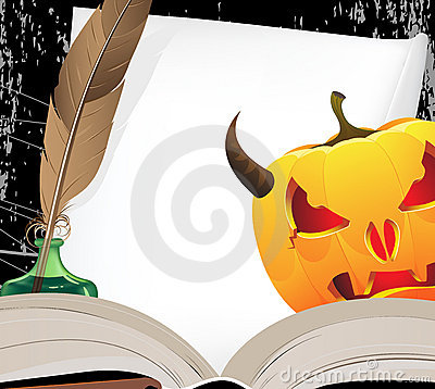 Horned Jack o Lantern and open ancient book
