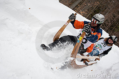 Horned Sledge Race 2012 in Turecka, Slovakia Editorial Stock Image