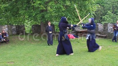 Kendo martial art performance at a medieval castle in the Czech Republic stock video