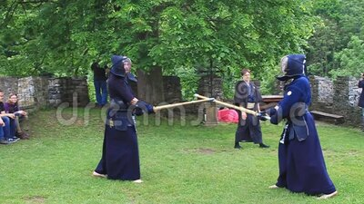 Kendo martial art performance at a medieval castle in the Czech Republic stock footage