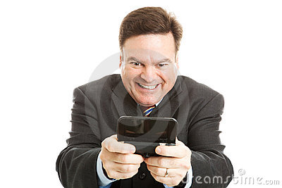 Horny Businessman Texting