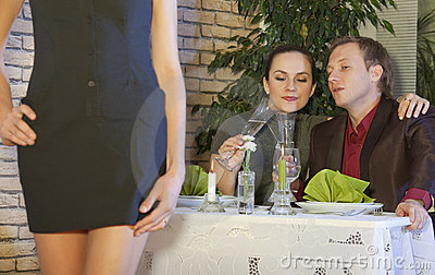 Horny man in restaurant