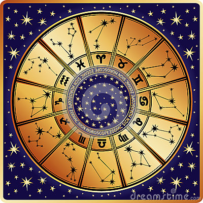 Horoscope circle.Zodiac sign and constellations