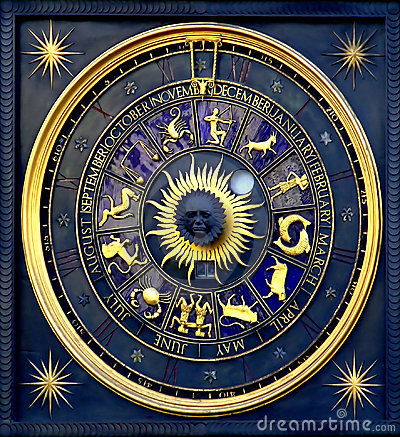 Free Horoscope Clock Royalty Free Stock Photo - 629805