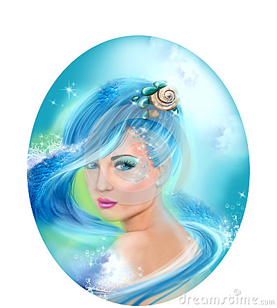 Free Horoscope Zodiac - Fantasy Aquarius Portret Beautifulbn Girl Stock Photos - 50412783