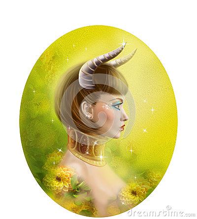 Free Horoscope Zodiac - Fantasy Taurus Portret Beautiful Girl Royalty Free Stock Photo - 50412785