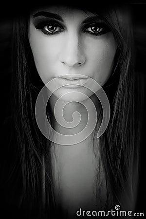 Horror dark emotion girl face