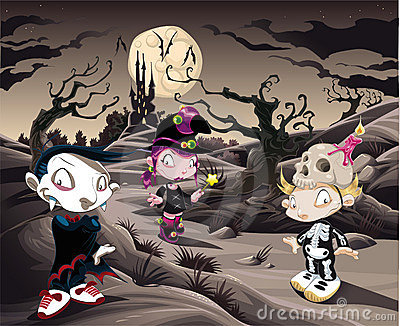 Horror landscape with characters. ìì