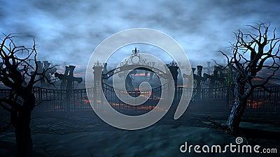 Horror night cemetery, grave. Moonlight . halloween concept. 3d rendering Stock Photo