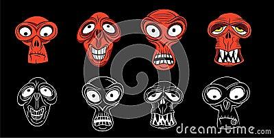 Horror scary zombie face
