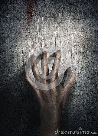 Free Horror Scene. Hand On Wall Backround. Poster, Cover Concept. Stock Photo - 61985410