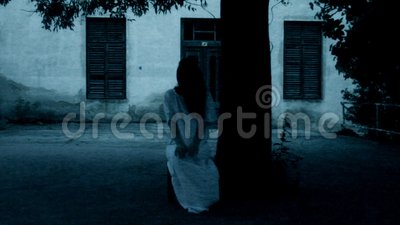 Horror scene of a scary woman stock footage