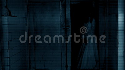 Horror scene of a scary woman. Horror movie scene of a scary woman