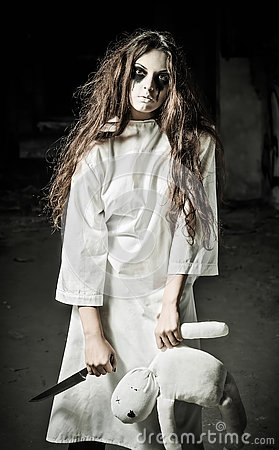 Horror Style Shot Strange Sad Girl With Moppet Doll And