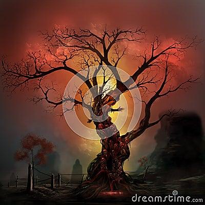 Free Horror Tree Royalty Free Stock Photos - 45883988