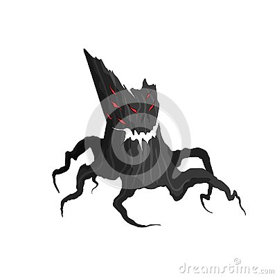 Free Horror Tree On A White Background. Evil Monster.Mystery Character Of Helloween. Game Asset. Magic Sprite Object Stock Photography - 112107572