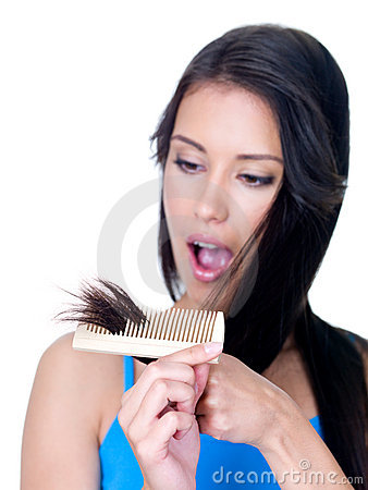 Horror of unhealthy ends of woman s hair