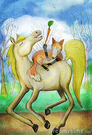 Free Horse And Fox With Carrot Stock Photos - 56561693