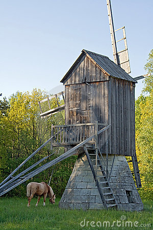 Free Horse And Old Windmill Stock Photos - 5458033