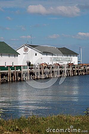 horse and buggies dockside in michigan Mackinaw island Editorial Stock Photo