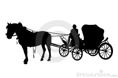 Horse and carriage black silhouettes