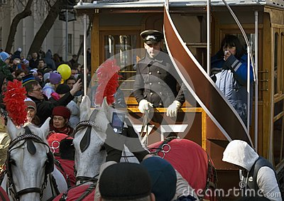Horse carriage at Moscow tramway parade - 2017 Editorial Stock Photo