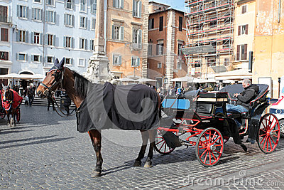 Horse and carriage in Rome Editorial Photo