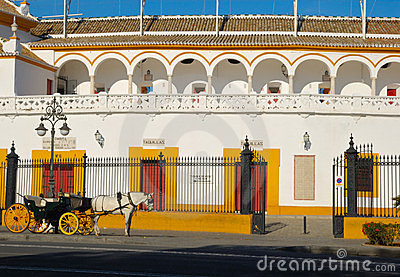 Horse coach at Seville bullring