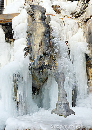 Horse coming out of ice