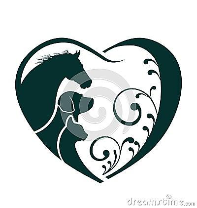 Horse, Dog and Cat heart image logo