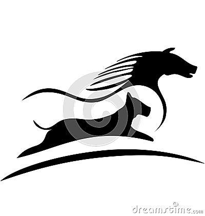 Horse and dog logo