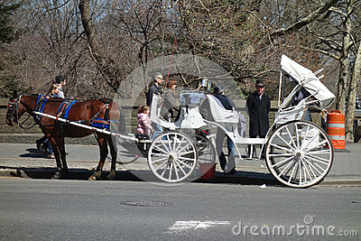 Horse-Drawn Carriage in New York City Editorial Stock Photo