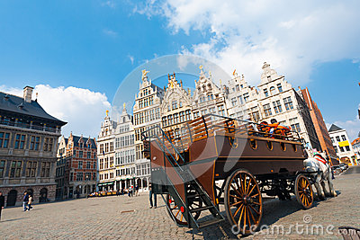 Horse Drawn Carriage Grote Markt Antwerp Editorial Photo
