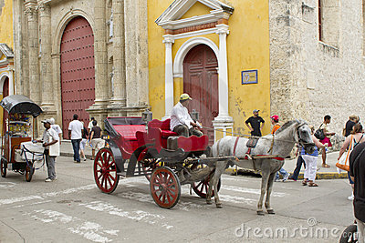 Horse drawn chariots in Cartagena, Colombia Editorial Stock Photo