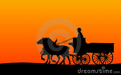 Horse-drawn Wagon Silhouette