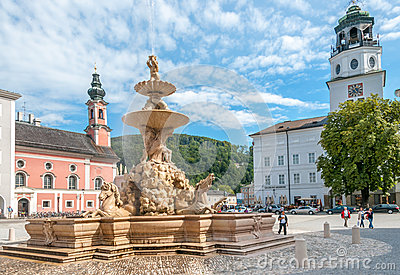 The Horse Fountain in Residenplatz Editorial Photography