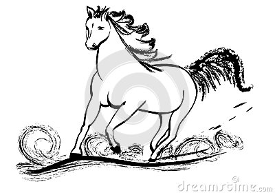 Horse galloping with flying mane