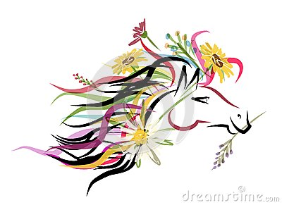 Horse head sketch with floral decoration for your